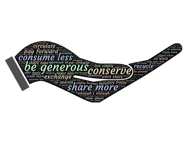 Image of open hand with generosity phrases