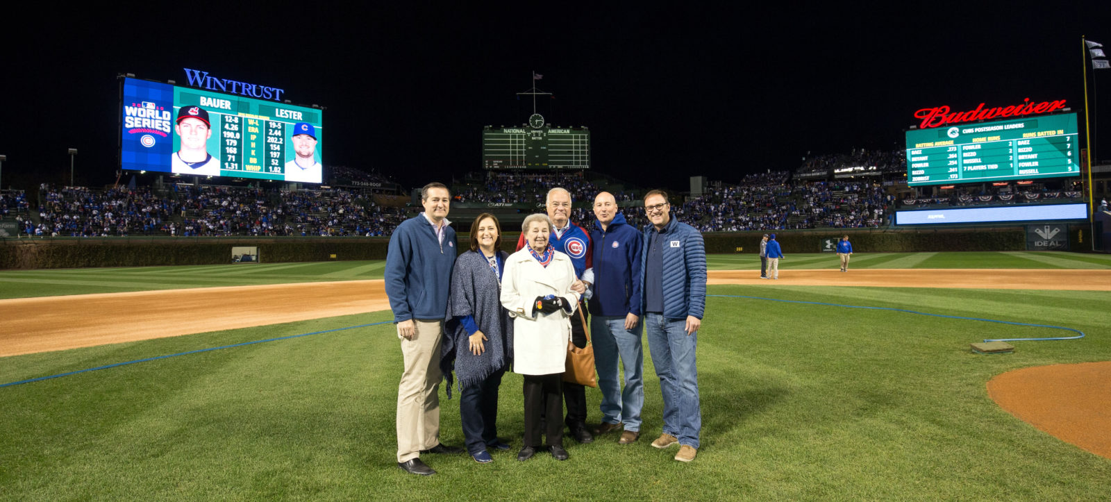 Image of Ricketts family on Chicago Cubs field