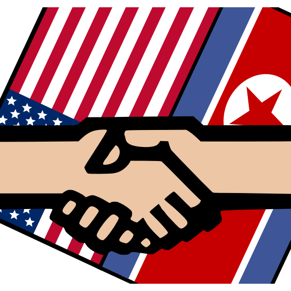 Image of Handshake with American and North Korean Flags