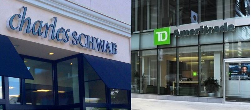 Image of Charles Schwab and TD Ameritrade store fronts